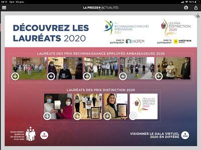 Écran La Presse + 30 janvier 2021